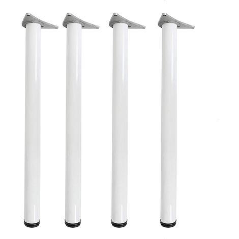 4x Adjustable Table Legs Chrome Matal Ø6cm Funiture Legs for Breakfast Bar Worktop Table Desk Support (72.5cm/White)