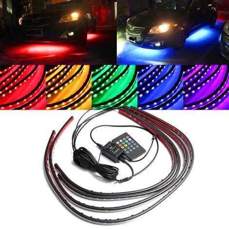 4x Auto LED debajo del chasis RGB 2x90cm / 2x60cm Control remoto UnderCar Neon 7 colores
