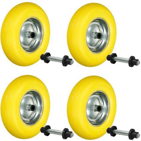 """4x Caretilla rueda PU 15"""" caucho de neumático 4.80/4.00-8 390 mm + barra eje"""