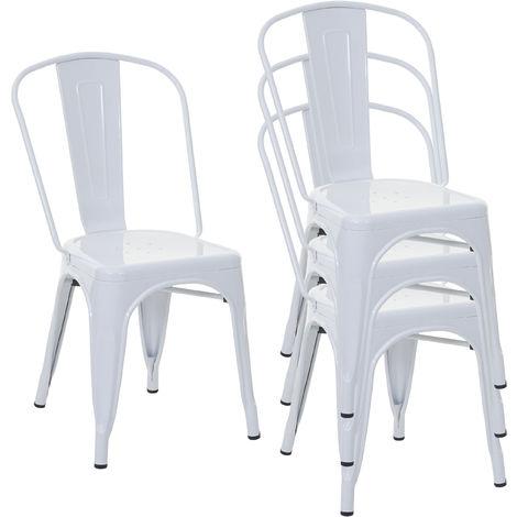 4x chaise de bistro HHG-791, chaise empilable, métal, design industriel