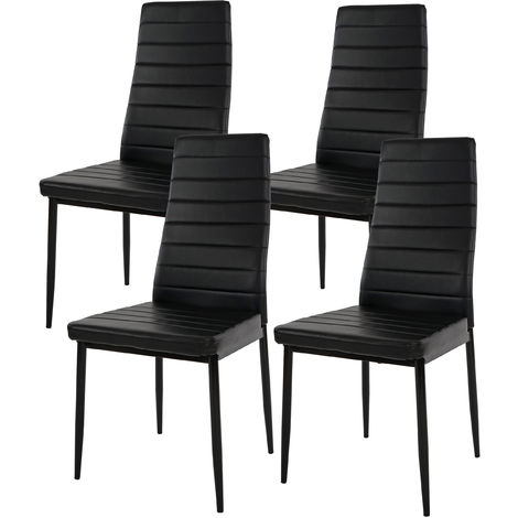 4x chaise de salle à manger Lixa, fauteuil similicuir ~ noir