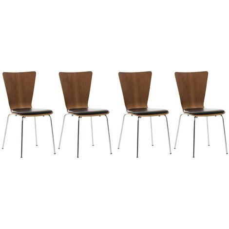 4x chaises de cuisine en bois couleur noyer avec assise rembourrée en simili-cuir noir