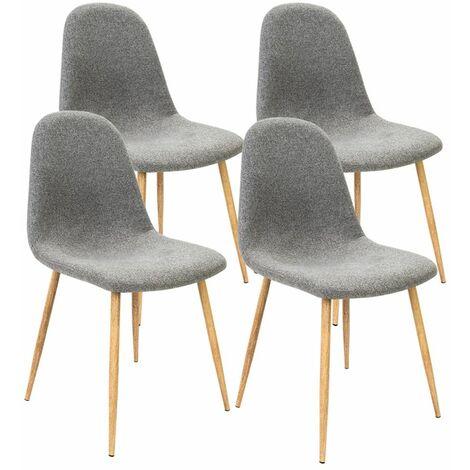 4x Chaises design retro avec revêtement tissu - Coloris au choix