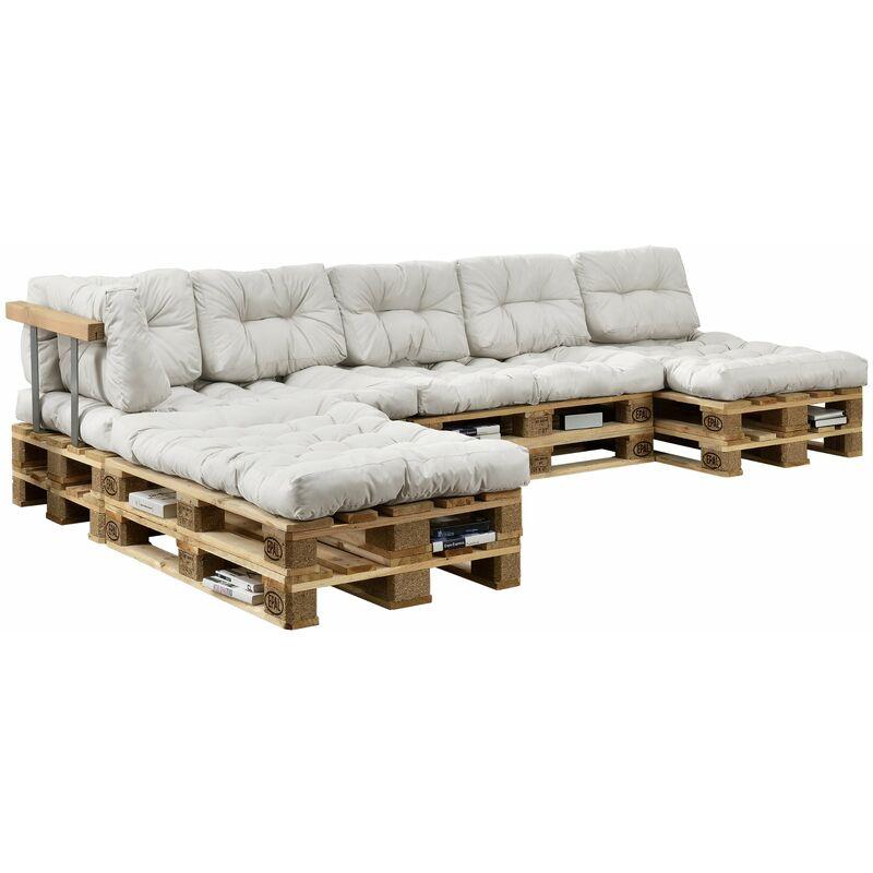 Helloshop26 - 4x coussins de siège et 6x coussins de dossier pour canapé palette blanc - Blanc