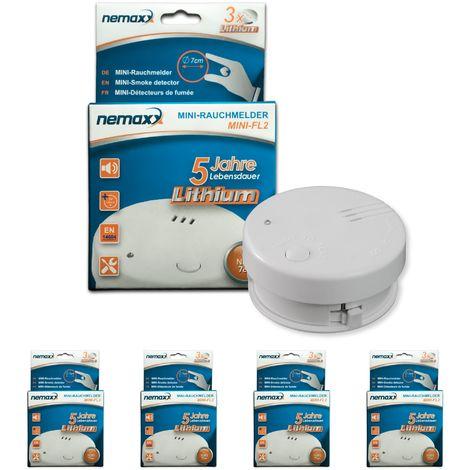 4x detector de humo Nemaxx Mini-FL2 Mini Detector de Fuego y humo detector con batería de litio de acuerdo con la norma DIN EN 14604