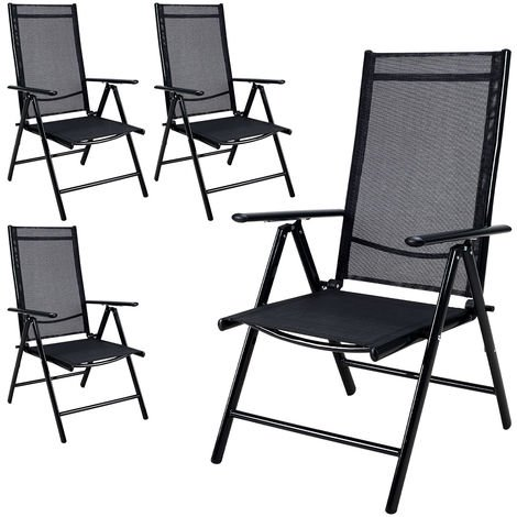 4x Deuba Garden Dining Chair Bern Folding Chairs Set Aluminum Recliner Outdoor Patio Silver or Anthracite