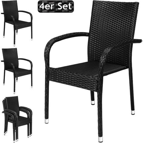 4x Deuba Poly Rattan Garden Dining Chairs Armed Black Stackable UV-Resistant Weatherproof Steel Frame
