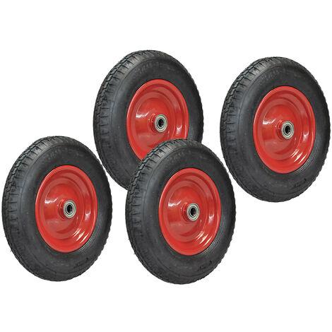 4x Ersatz-Reifen Ø 400mm schwarz für Schubkarre Sackkarre Luft-Rad 4.00-8 PLY4 auf roter Stahlfelge