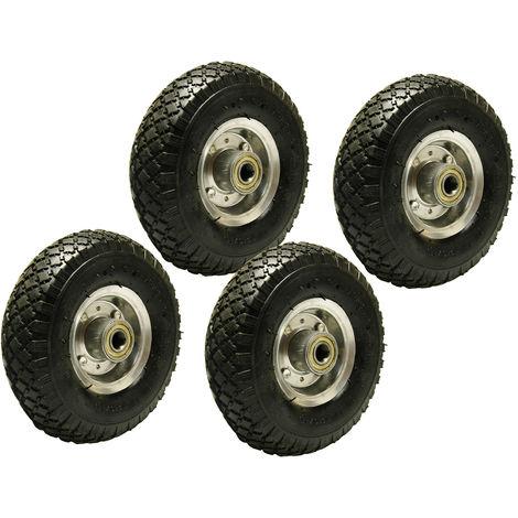 4x Ersatz-Reifen Luftrad 260mm schwarz für Schubkarre Sackkarre Reifen Rad 3.00-4 auf Stahlfelge