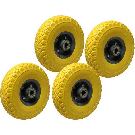 4x Ersatz-Reifen PU-Schaum 260mm gelb 120kg Schubkarre Sackkarre Reifen Rad 3.00-4 auf Stahlfelge