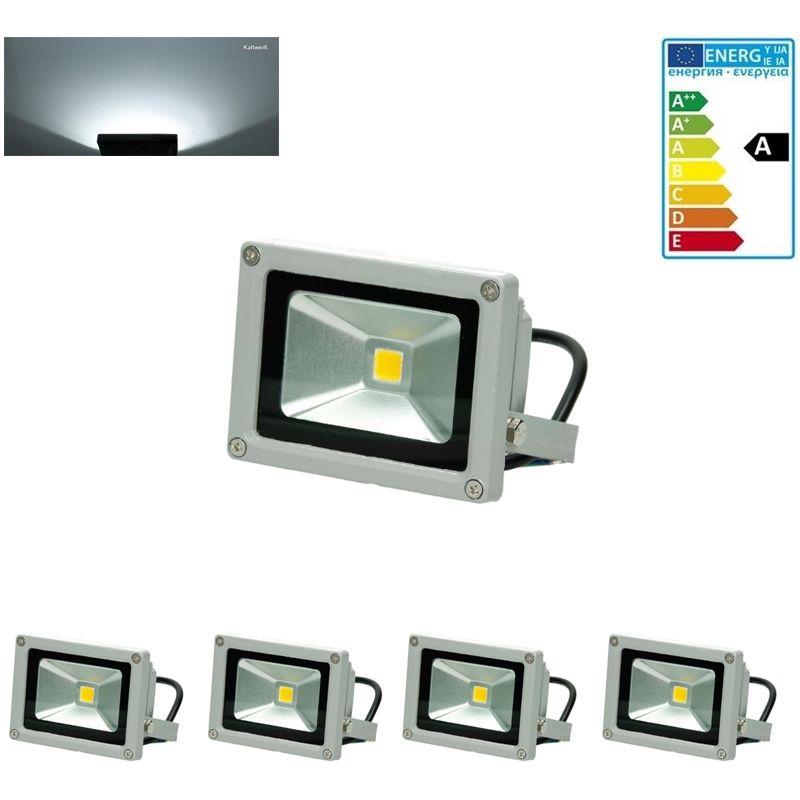 4x faro faretto proiettore lampada a LED color bianco freddo 10W da esterno - ECD GERMANY
