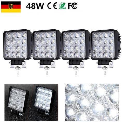4X Feu de Travail LED 48W Phare LED Moto Spot Feux Additionnels Moto Phare de Travail LED Lampe Avant Feux Brouillard 12V pour Moto SUV ATV Camion Tracteur