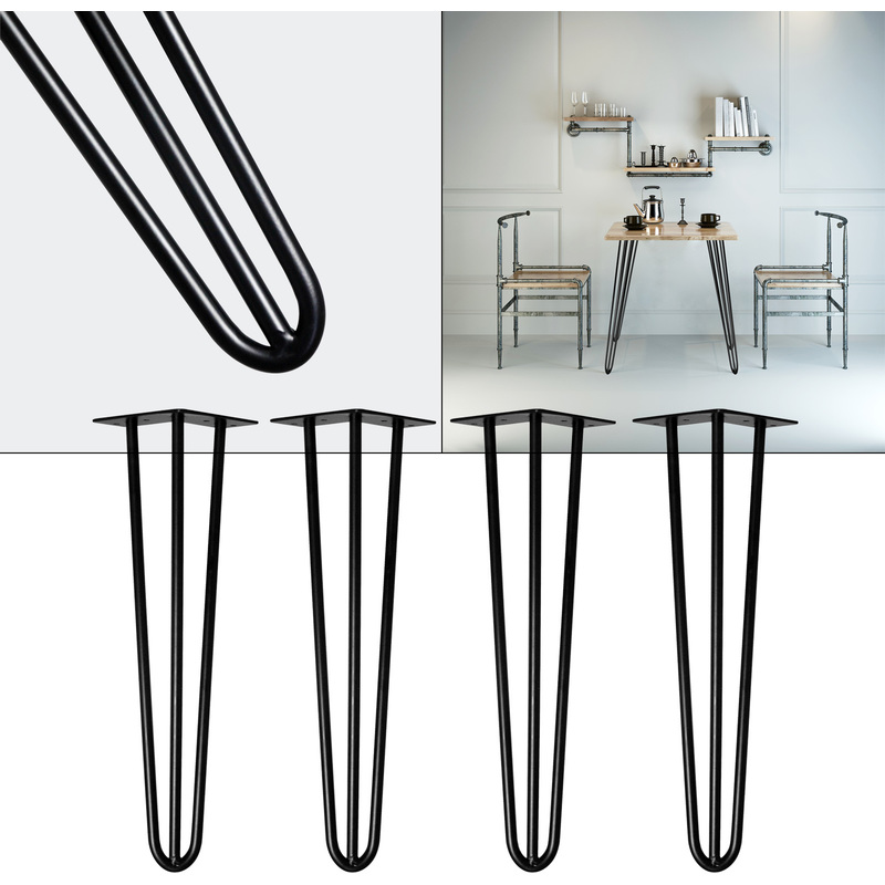 4x Hairpin Table Legs 20cm Black Retro Vintage Coffee