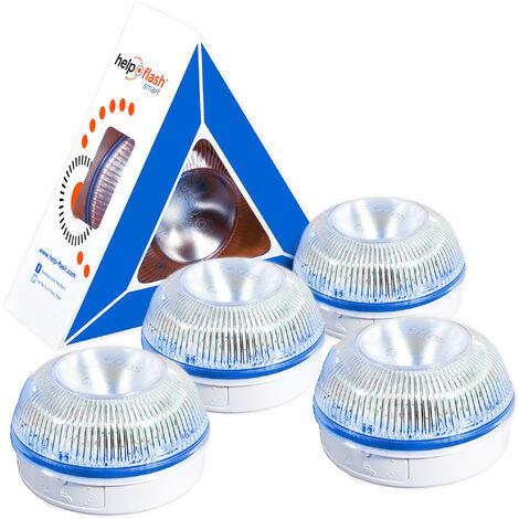 4x HELP FLASH Smart - luz de emergencia AUTÓNOMA, señal v16 de preseñalización de peligro y linterna, homologada, normativa DGT, V16, con base imantada, activación AUTOMÁTICA, hecho en España