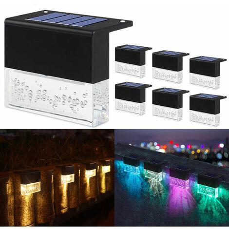 4x Luces LED solares Luces de pared Luz de valla Luz de jardín Luz de escalera exterior