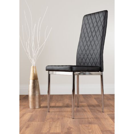 4x Milan Black Chrome Hatched Faux Leather Dining Chairs