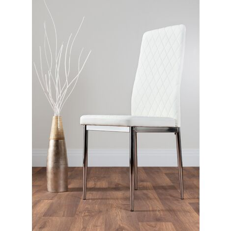 """main image of """"4x Milan Chrome Hatched Faux Leather Dining Chairs"""""""