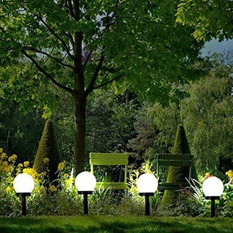 """main image of """"4x Modern White Globe Ball Garden Solar Lights (33cm x 10cm)"""""""