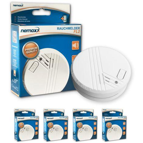 4x Nemaxx detector de humo FL2 - según la norma EN 14604 con tecnología fotoeléctrica sensible e inalámbrica!