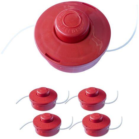 4x Nemaxx FS2 cabezal de doble hilo semiautomático - cabezal de corte de siega -accesorios de corte - hilo de nylon - carrete para desbrozadora gasolina – rojo
