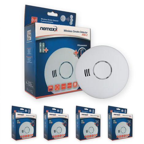 4x Nemaxx HW-2 Funkrauchmelder Rauchmelder Hitzemelder mit kombiniertem Rauch- und Thermosensor nach DIN EN 14604 - weiss