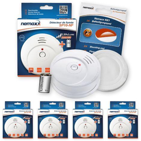 4x Nemaxx SP Rauchmelder Rauchwarnmelder fotoelektrisch nach DIN EN14604 mit 9V Lithiumbatterie mit 10 Jahren Lebensdauer + NX1 Befestigungspad
