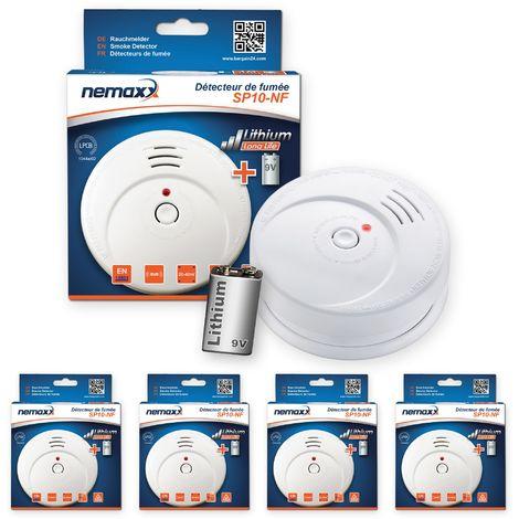 4x Nemaxx SP détecteurs de fumée durable avec 10 ans pile au lithium 9V - DIN EN 14604 : 2005/AC : 2008 certifié
