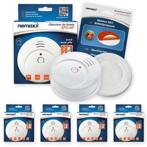 4x Nemaxx SP5-NF Detector de humo de alta calidad con pila incluida de 9V - Blanco + NX1 Pad de fijación