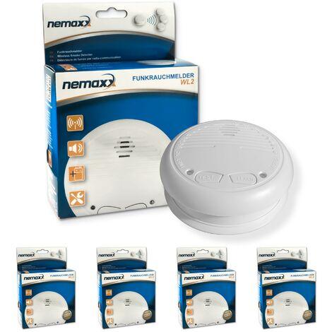 4x Nemaxx WL2 Détecteurs de fumée sans fil - conforme EN 14604