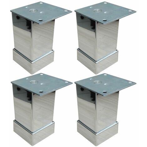 4x Pieds de meubles en métal ajustable réglable 40/40mm H80mm chromé avec plaque de montage