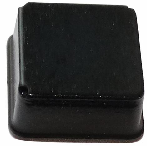 4x pieds patins carrés H:9.7mm 20x20mm pour meubles. Auto-adhésifs. Noir