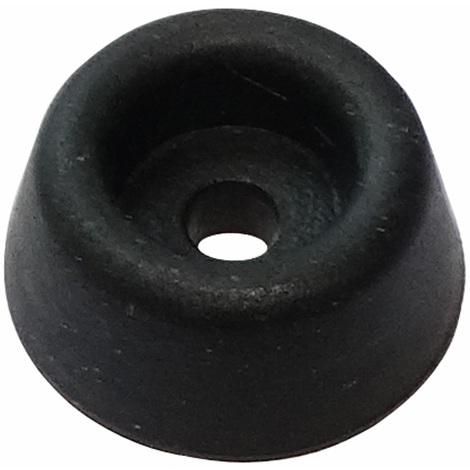 4x pieds patins ronds en caoutchouc H:7.1mm Ø15.9mm pour meubles. A visser. Noir