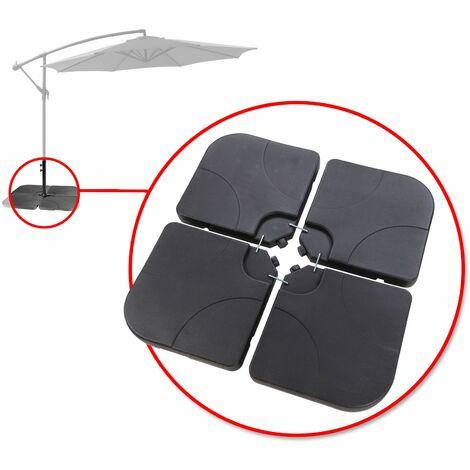4x PVC Gewichte Sonnen-Schirm-Ständer Standfuß für Ampelschirm Beschwerungsplatten