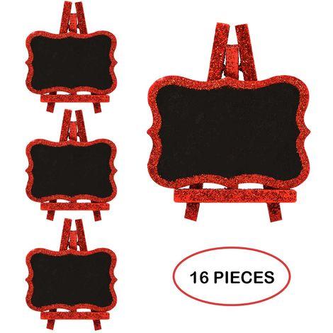 4X RED GLITTER NAME CHALKBOARD PACK OF 4