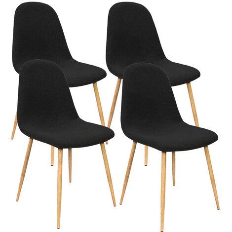 4x Retro Dining Chairs Set Scandinavian Eiffel Fabric Padded Designer Seat