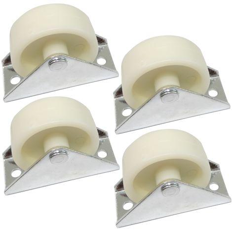 4x Roue roulette pour meuble platine fixé Ø40mm W24mm H44mm 25kg plaque de montage 24x58mm