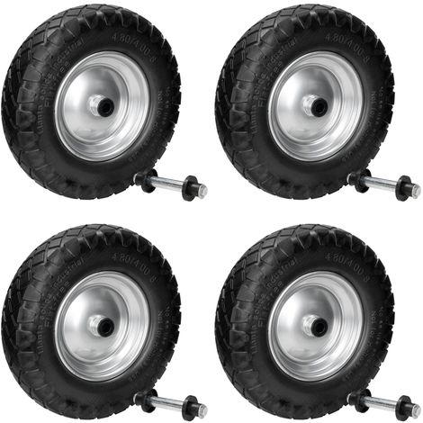 "4x Rueda carretilla PU caucho 4.80 / 4 4.00-8 15"" 390 mm neumático goma maciza"
