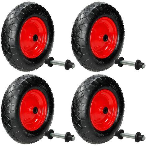 4x Ruota di ricambio gomma per carriola pneumatica 4.80/4.00-8 200 kg con asse