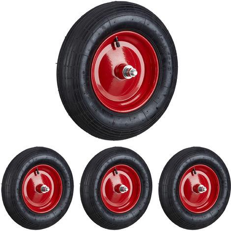 4x Schubkarrenreifen 4.80 4.00-8, Ersatzrad luftbereift mit Achse, Luftreifen 120kg Traglast, Schubkarrenrad, schwarz-rot