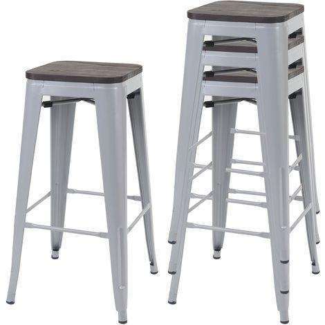 4x tabouret de bar HHG-766 avec siège en bois, chaise de comptoir, métal, design industriel, empilable