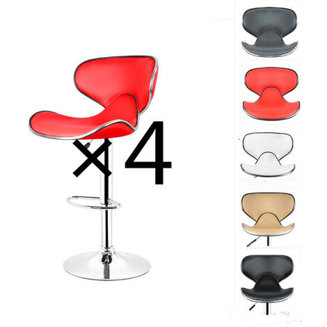 4x Tabourets de Bar avec Dossier en forme de Papillon 85-105 cm Rouge