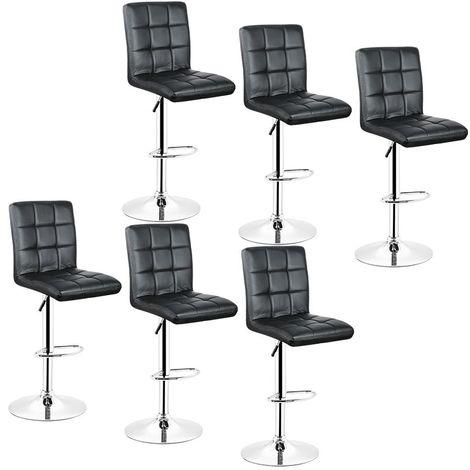 4x Tabourets de bar fautruil chaise en hauteur reglable 9 grilles en simili (Noir)