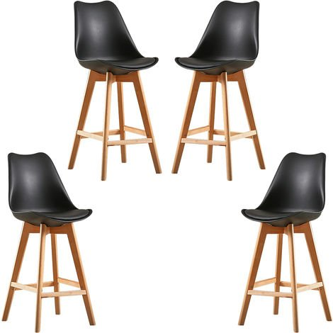 4X Un ensemble de deux chaises de bar de style scandinave noir
