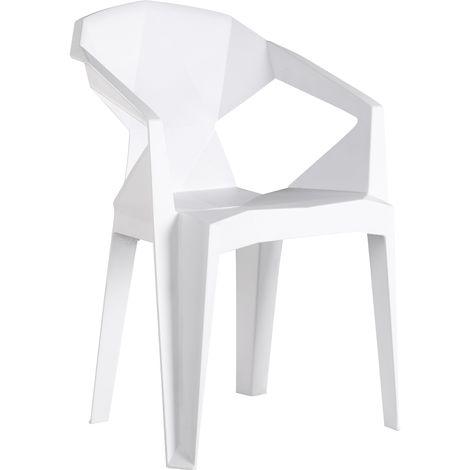 4x White Verona Modern Plastic Chair