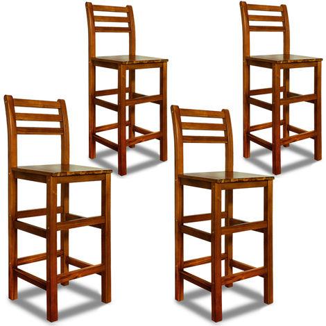 4x Wooden Bar Stool Backrest Set of 4 Kicthen Breakfast Footrest Acacia Barstool