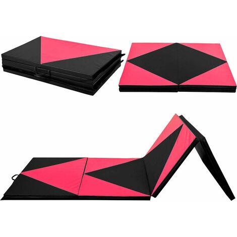 "4'x10'x2"" Fold Exercise Yoga Gymnastics Mat PU Soft Tumble Play Crash Safety"
