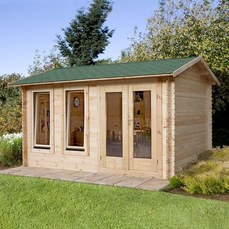 4x3m (13'x10') Forest Ventoux (Chiltern) 34mm Shingle Roof Log Cabin- Garden Room