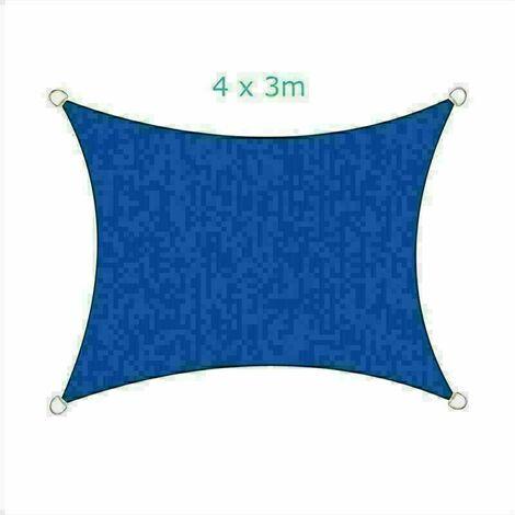4x3m Sun Sail Shade Rectangular Awning Canopy Garden Sun Patio Sunscreen - Blue