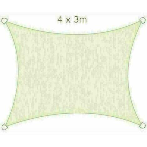 4x3m Sun Sail Shade Rectangular Awning Canopy Garden Sun Patio Sunscreen - Ivory