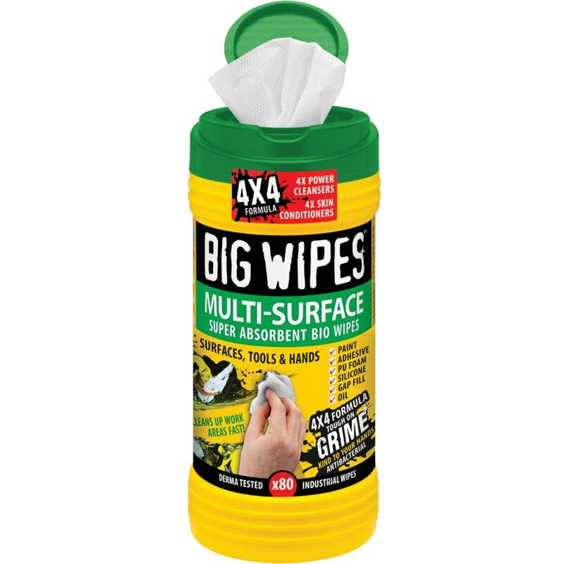 Image of 4X4 Multi-surface Wipes - Pack of 80 - Big Wipes